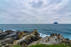 美好的岩层在和平海岛,台湾(接近) 库存图片