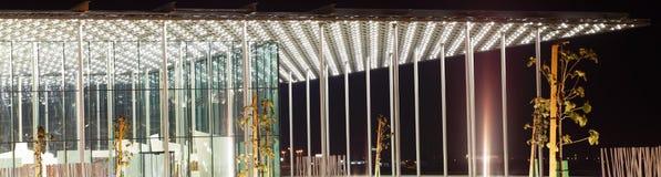 美好的巴林国家戏院门廊特写镜头  免版税库存照片
