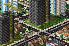 美好的市区的顶视图 免版税库存照片
