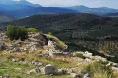 美好的希腊横向 希腊mycenae 库存照片