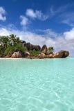 美好的异乎寻常的海滩Anse来源d& x27; 银从拉迪格岛塞舌尔群岛 免版税库存照片
