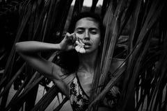 美好的性感的俏丽的深色的妇女夏天热带棕榈树p 库存照片