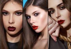 美好的性感的女孩晚上构成波浪深色的头发化妆用品 库存照片