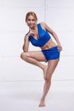 美好的性感的白肤金发的完善的运动微小的图参与瑜伽, pilates,锻炼或健身,带领健康生活方式,和 免版税图库摄影