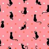 美好的手拉的猫减速火箭的syle设计无缝的样式传染媒介 库存图片