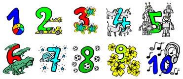 美好的手画五颜六色的数字与愉快的图片的孩子和友好的动物的能学会数字和为生日 皇族释放例证