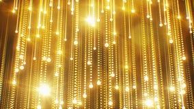 美好的抽象金黄与火光轻无缝的微粒落的闪光的雨 使成环的3d动画运动的金子 皇族释放例证