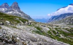 美好的挪威自然,山,峡谷 免版税图库摄影