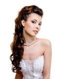 美好的新娘发型婚礼 免版税图库摄影