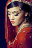 美好的新娘女孩印地安人构成 免版税库存照片