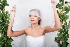 美好的新娘方式发型婚礼 年轻华美的新娘特写镜头画象  婚礼,女孩的面孔是 免版税库存照片