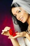 美好的新娘环形婚礼 免版税库存图片