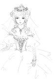 美好的新娘草图 免版税库存照片