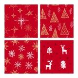 美好的无缝的圣诞节和冬天样式,用手得出 许多欢乐元素和样式 向量例证