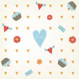 美好的无缝的情人节样式 瓦片背景用心脏杯形蛋糕和花 手拉的包装纸纹理 免版税库存图片