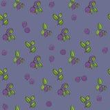 美好的无缝的样式用自然新鲜的蓝莓 免版税库存照片