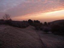 美好的日出在一个冷颤的11月早晨 库存图片