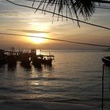 美好的日出在柬埔寨 免版税库存照片