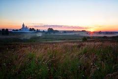 美好的日出现金修道院 库存照片