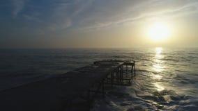 美好的日出鸟瞰图在海的 影视素材