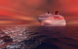 美好的日落和大巡航划线员 免版税库存照片