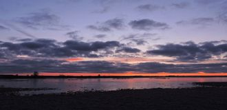 美好的日落和洪水区域,立陶宛 图库摄影