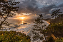 美好的日落和海岸线在南部鹿儿岛,九州, J 库存照片
