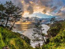 美好的日落和海岸线在南部鹿儿岛,日本 库存照片