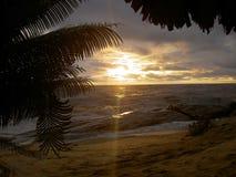 美好的日落在利比里亚,非洲 图库摄影