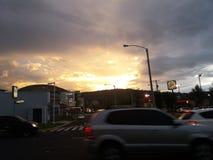 美好的日落在危地马拉 免版税图库摄影