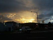 美好的日落在危地马拉 图库摄影