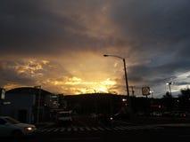 美好的日落在危地马拉 库存照片