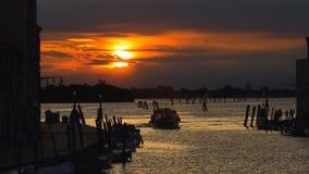 美好的日落在威尼斯,意大利 免版税库存照片