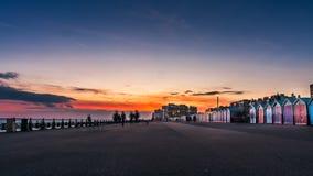 美好的日落在布赖顿,英国 库存照片