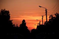 美好的日落在村庄,乌克兰 库存图片