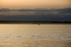 日落在西雅图江边 库存照片
