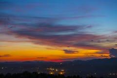 美好的日落在清迈,泰国 免版税图库摄影