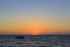 美好的日落在雷东多海滩 免版税库存照片