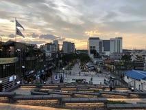 美好的日落在韩国 免版税库存照片