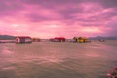 美好的日落在马尔代夫 库存图片