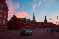 美好的日落在Copenhagenn 免版税图库摄影