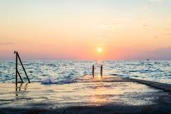 美好的日落在Istria 免版税库存照片