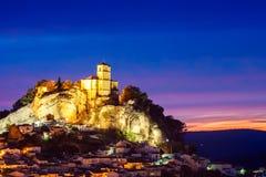 美好的日落在Montefrio 格拉纳达西班牙 免版税库存照片