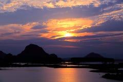 美好的日落在puzhehei县,云南,瓷 免版税库存照片
