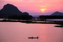 美好的日落在puzhehei县,云南,瓷 免版税图库摄影