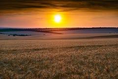 美好的日落在whetaen领域,与云彩的五颜六色的天空 免版税图库摄影