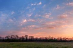 美好的日落 与树、蓝天和clou的春天风景 库存照片
