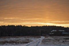 美好的早晨和冬天明亮的日出在1月 郊区和领域盖了雪 免版税库存照片