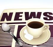 美好的早晨咖啡读书新闻。 免版税库存照片