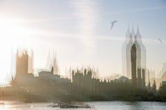 美好的早晨的多重曝光图象在威斯敏斯特桥梁的 伦敦英国 免版税图库摄影